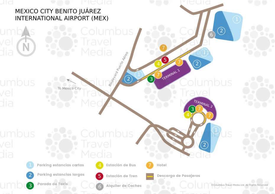 Mapa General de la Terminal del aeropuerto de Ciudad de Mexico