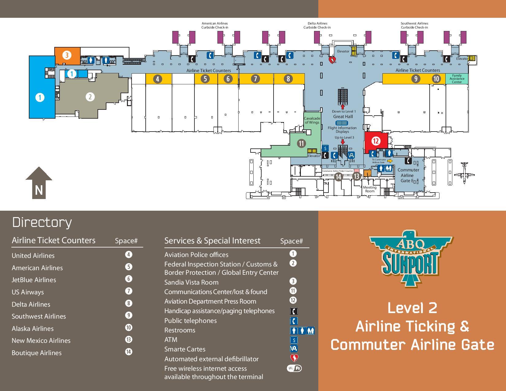 Mapa de mostradores e instalaciones de la terminal del aeropuerto de Albuquerque