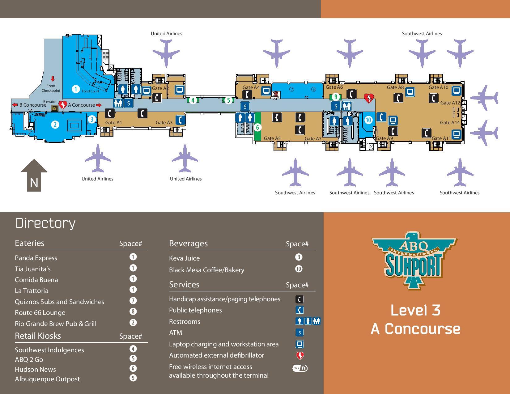 Mapa de la zona de control pre embarque del aeropuerto de Albuquerque