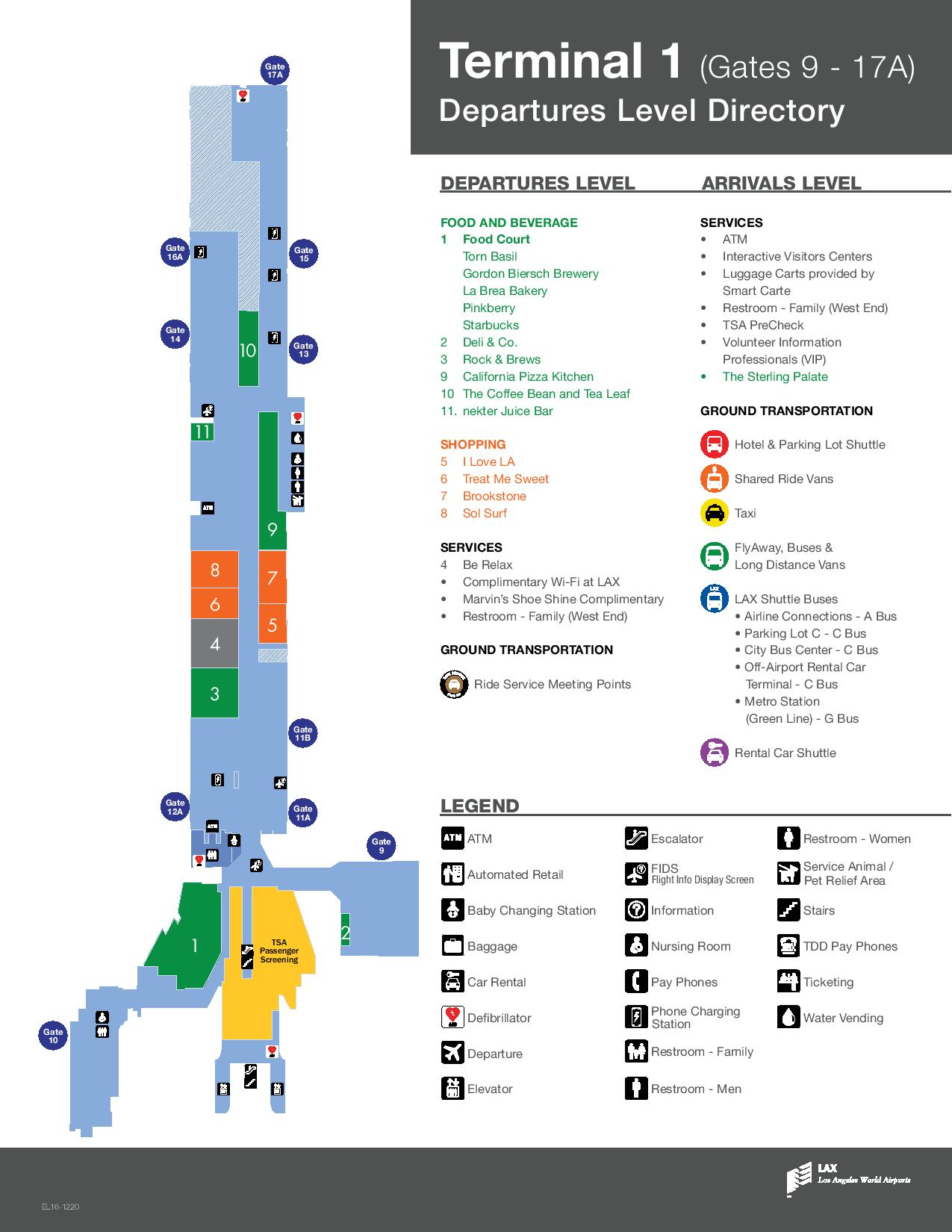 Mapa de la T1 del aeropuerto de Los Angeles LAX