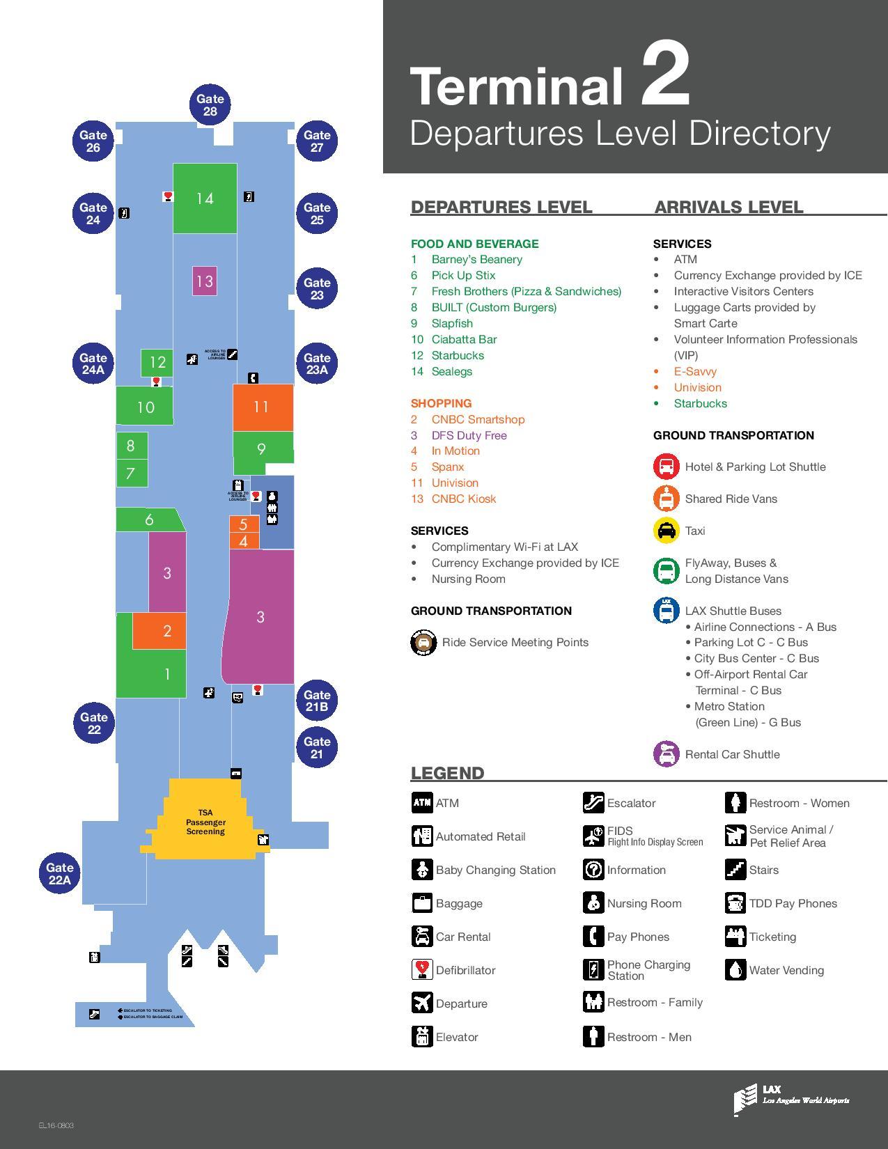 Mapa de la T2 del aeropuerto de Los Angeles LAX