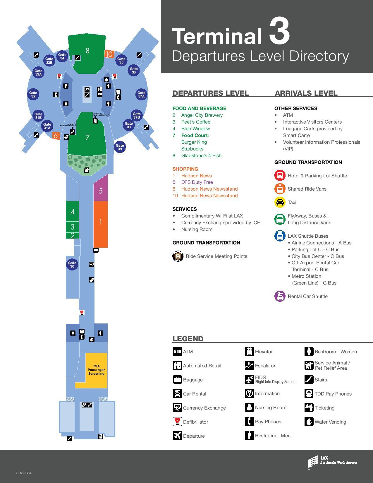 Mapa de la T3 del aeropuerto de Los Angeles LAX