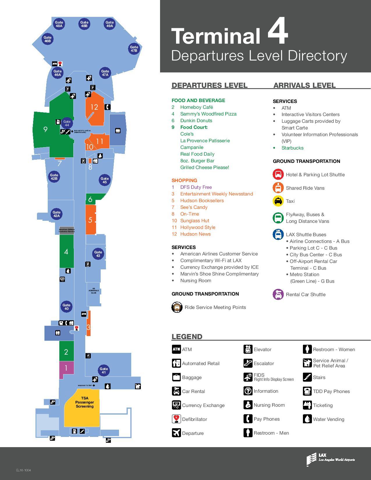 Mapa de la T4 del aeropuerto de Los Angeles LAX