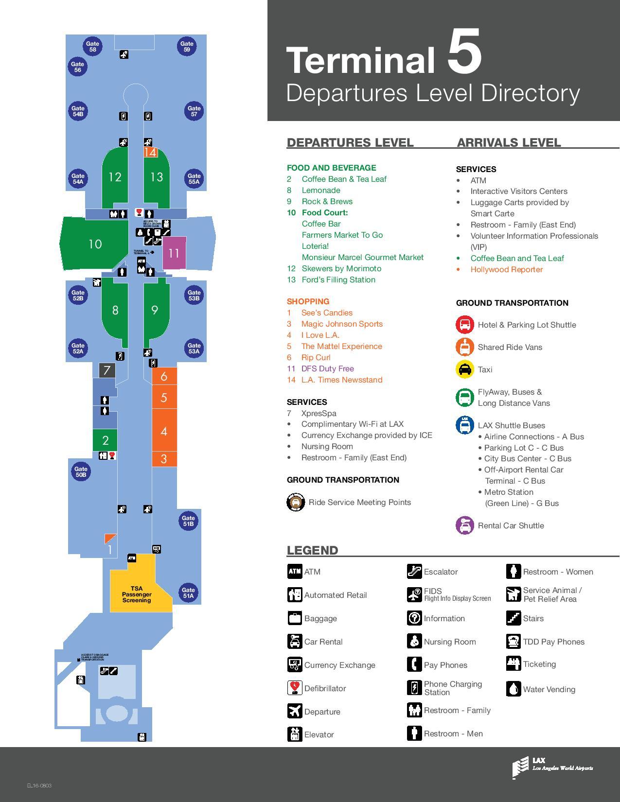 Mapa de la T5 del aeropuerto de Los Angeles LAX
