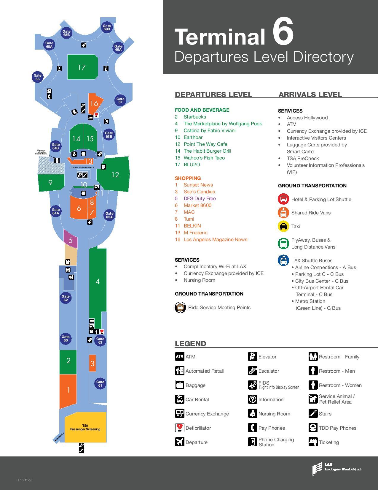Mapa de la T6 del aeropuerto de Los Angeles LAX