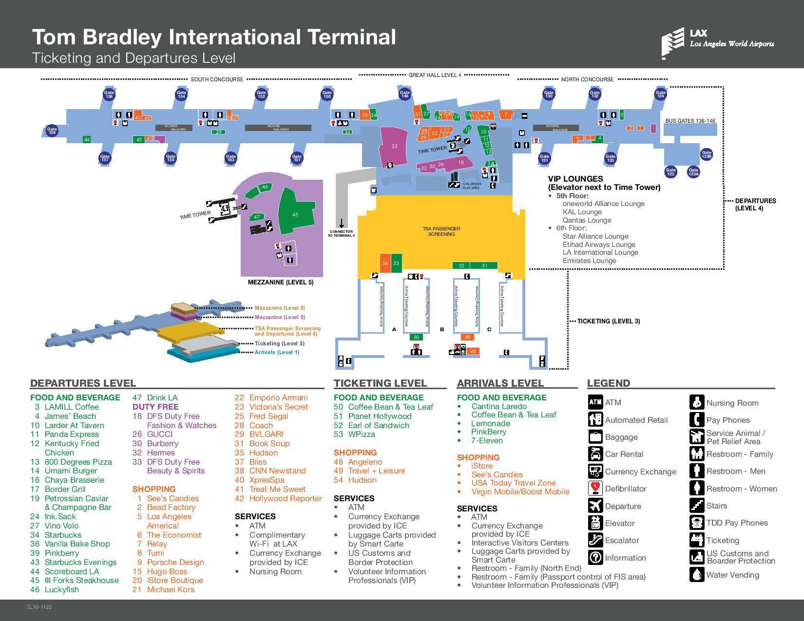 Mapa de la terminal Tom Bradley del aeropuerto de Los Angeles LAX
