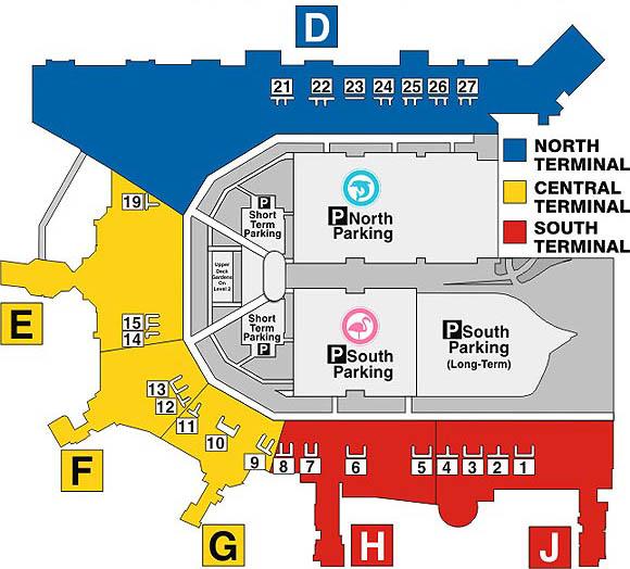 Mapa del estacionamiento en las terminales del aeropuerto de MIami