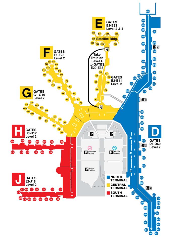 Mapa general de las terminales aeropuerto de Miami