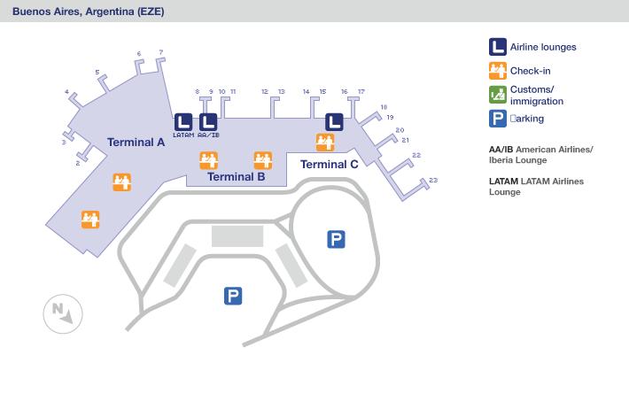 Mapa General de las terminales del aeropuerto de Buenos Aires Ezeiza
