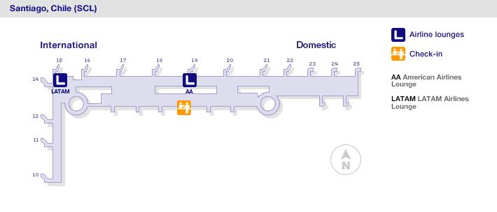 Mapa General de las terminales del aeropuerto de Santiago de Chile