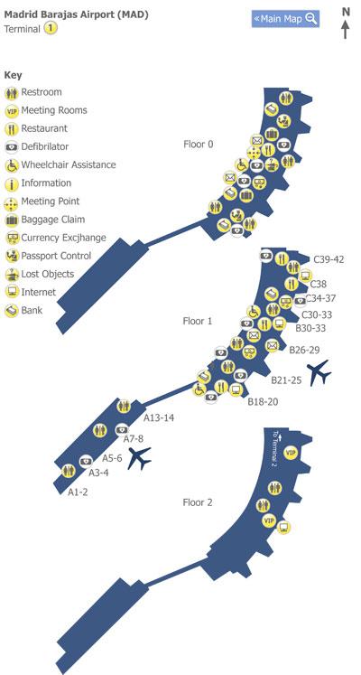 Plano de la Terminal 1 del aeropuerto de Madrid