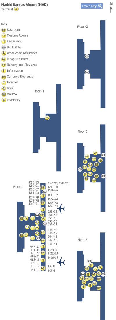 Plano de la Terminal 4 del aeropuerto de Madrid