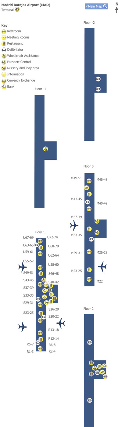 Plano de la Terminal 4s del aeropuerto de Madrid
