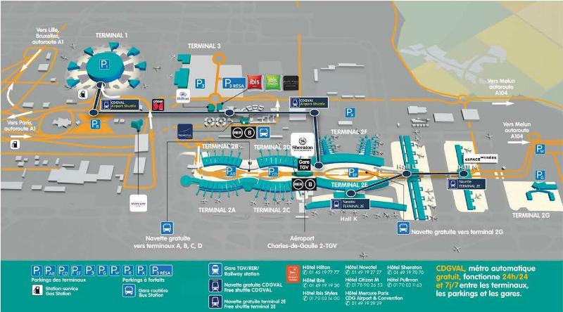Plano de la Terminal del aeropuerto de Paris Charles de Gaulle