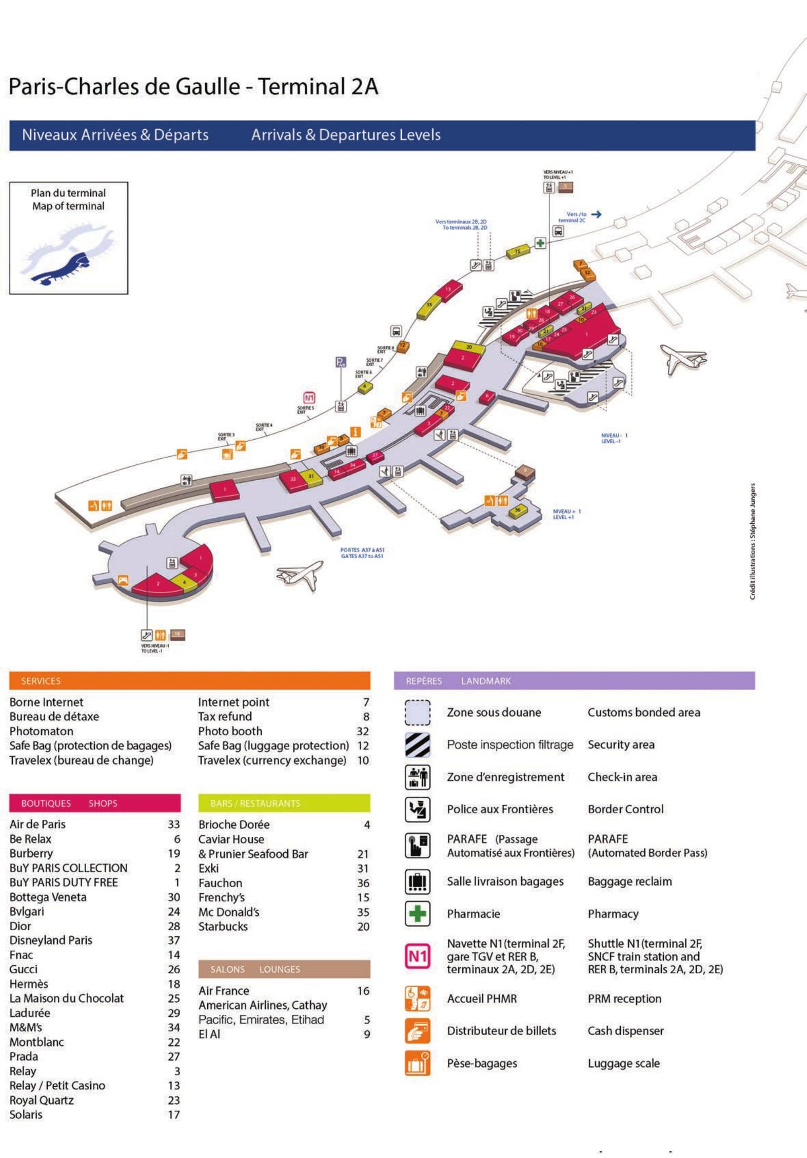 Mapa de la Terminal 2A del aeropuerto de Paris Charles de Gaulle