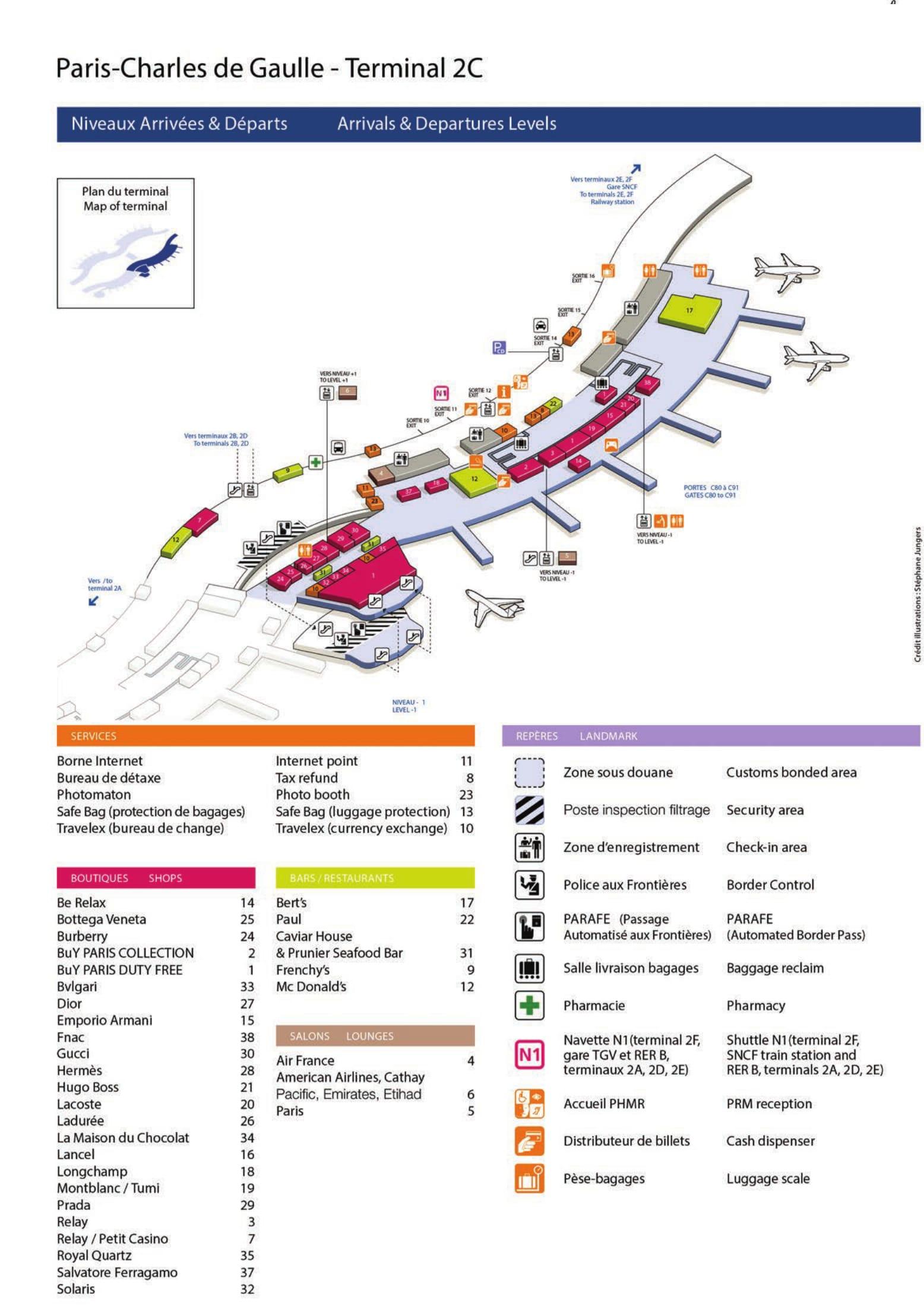 Mapa de la Terminal 2C del aeropuerto de Paris Charles de Gaulle