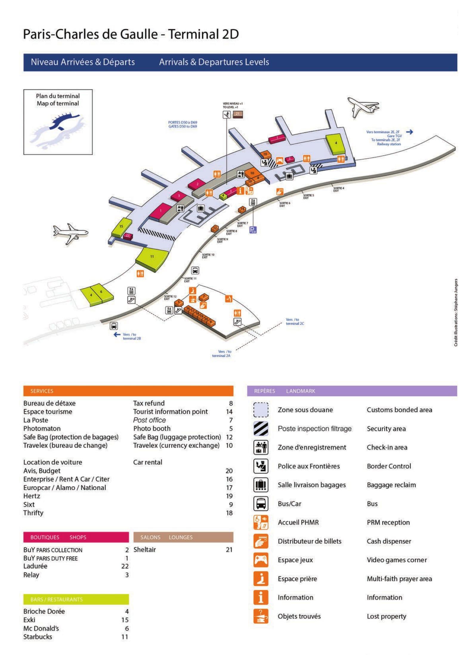 Mapa de la Terminal 2D del aeropuerto de Paris Charles de Gaulle