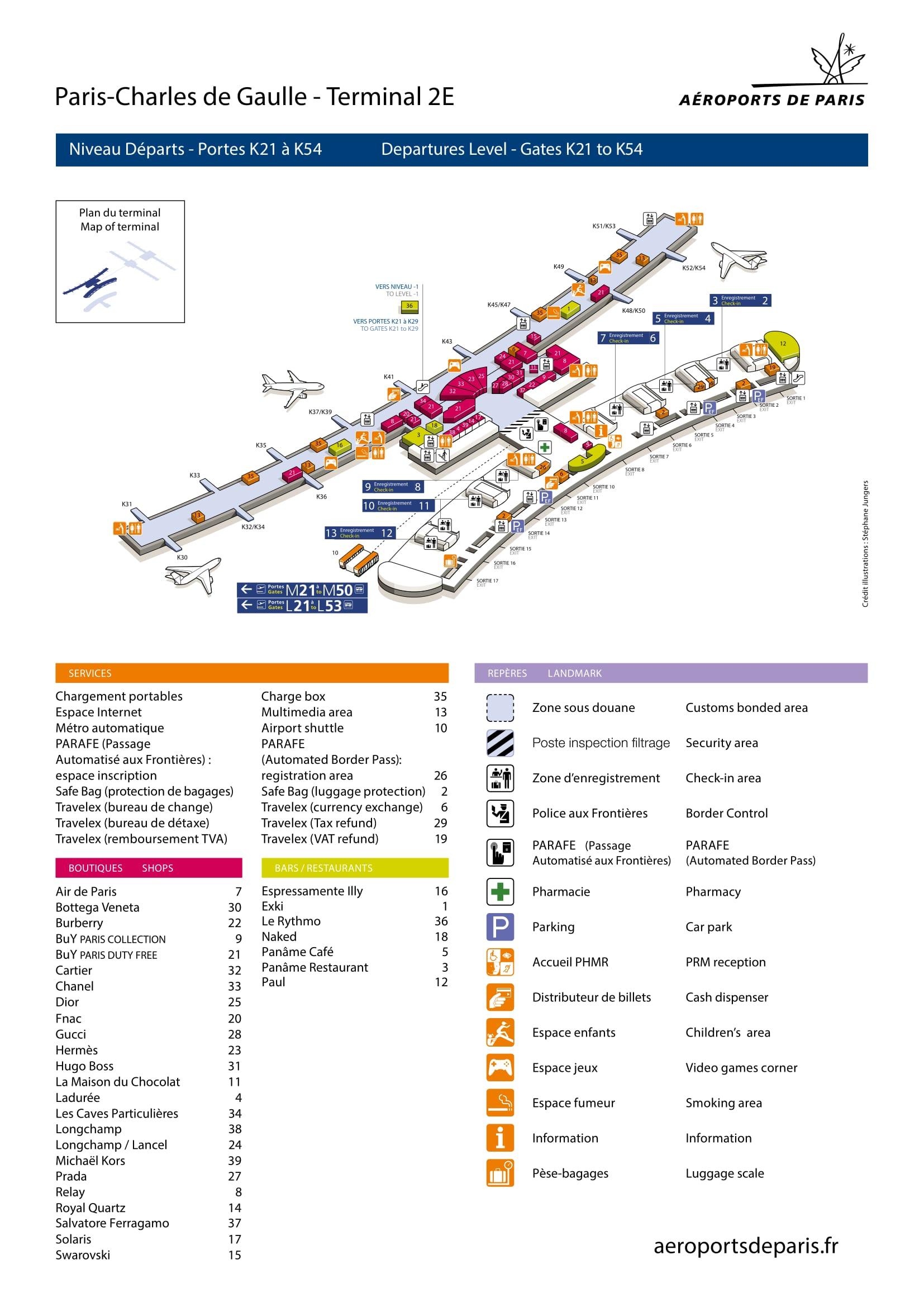 Mapa de la Terminal 2E1 del aeropuerto de Paris Charles de Gaulle