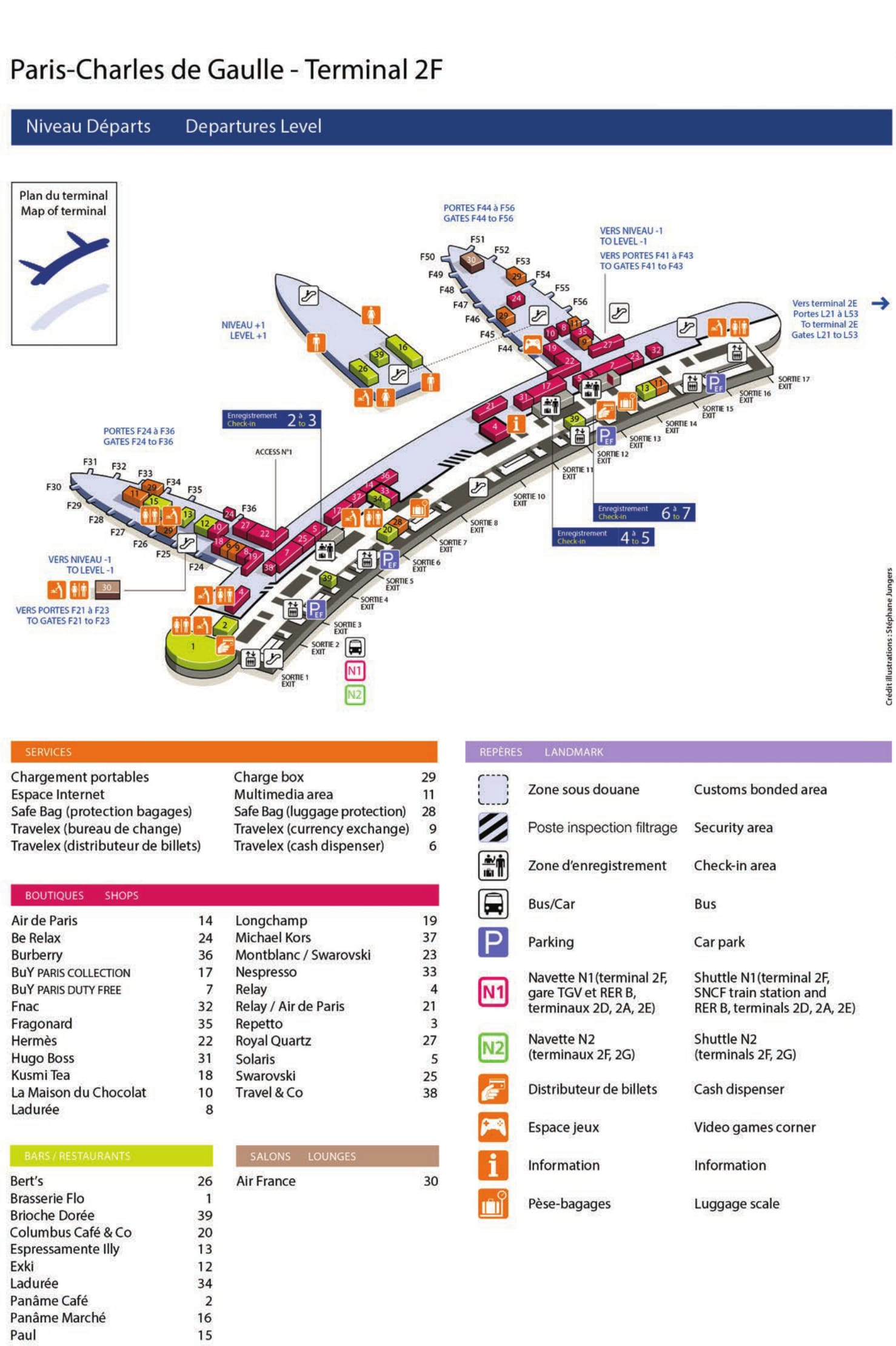 Mapa de la Terminal 22F1 del aeropuerto de Paris Charles de Gaulle