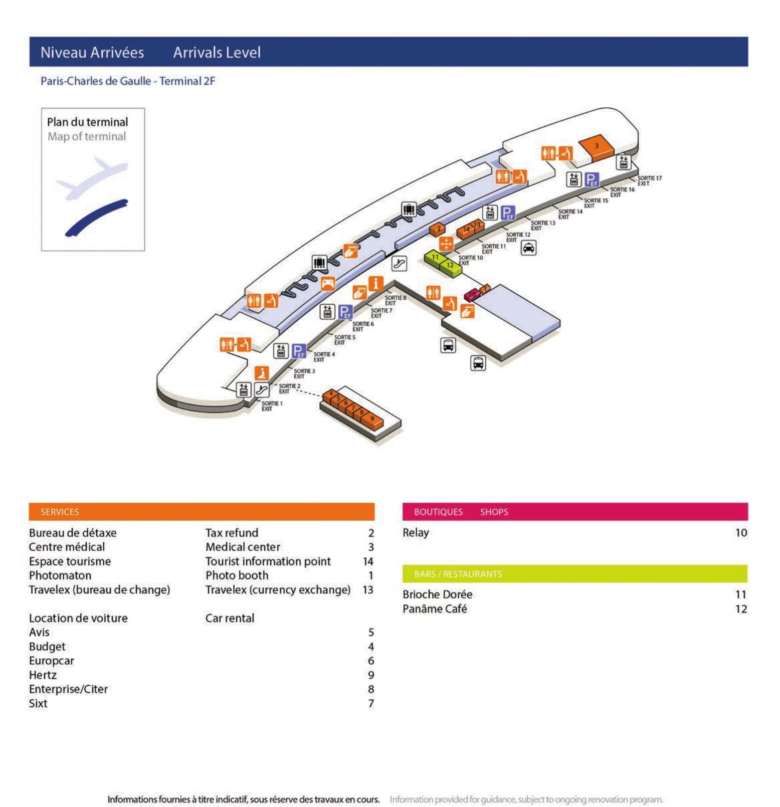 Mapa de la Terminal 2F2 del aeropuerto de Paris Charles de Gaulle
