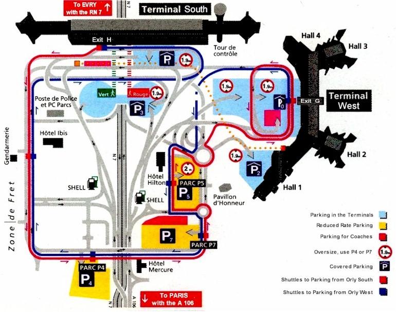 Mapa de la Terminal del aeropuerto de Paris Orly