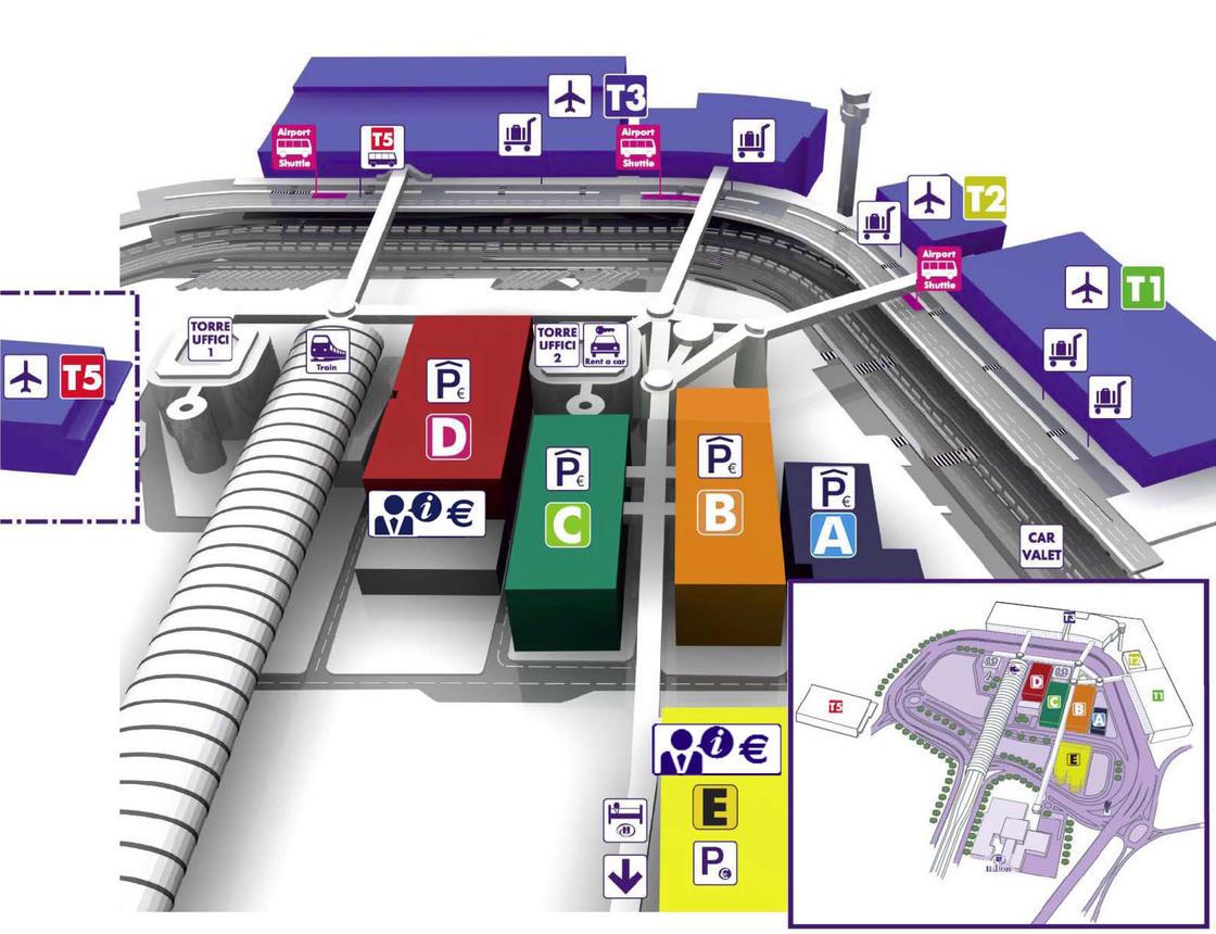 Plano de la Terminal del aeropuerto de Roma Fiumicino