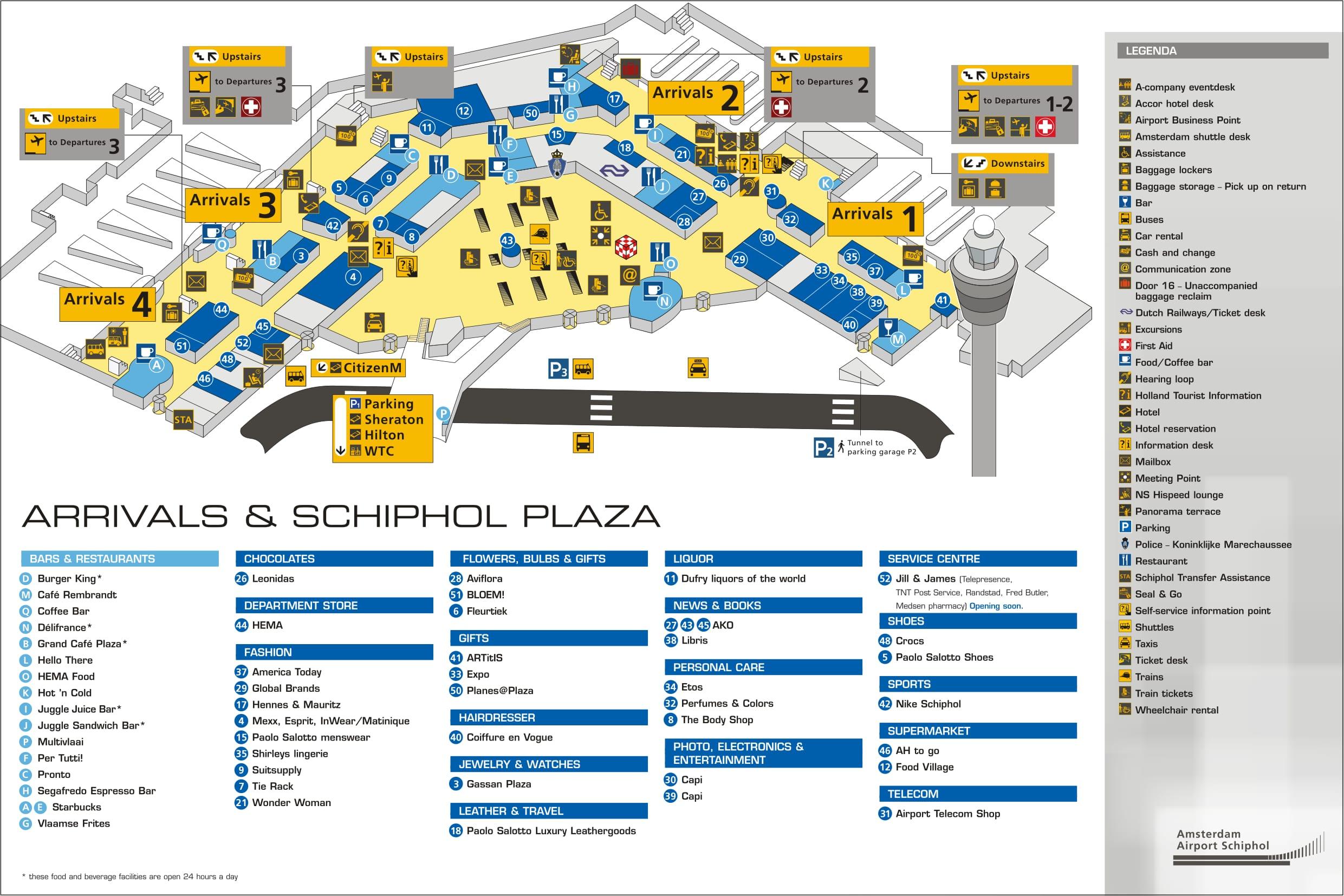 Mapa de la Terminal llegadas del aeropuerto de Amsterdam
