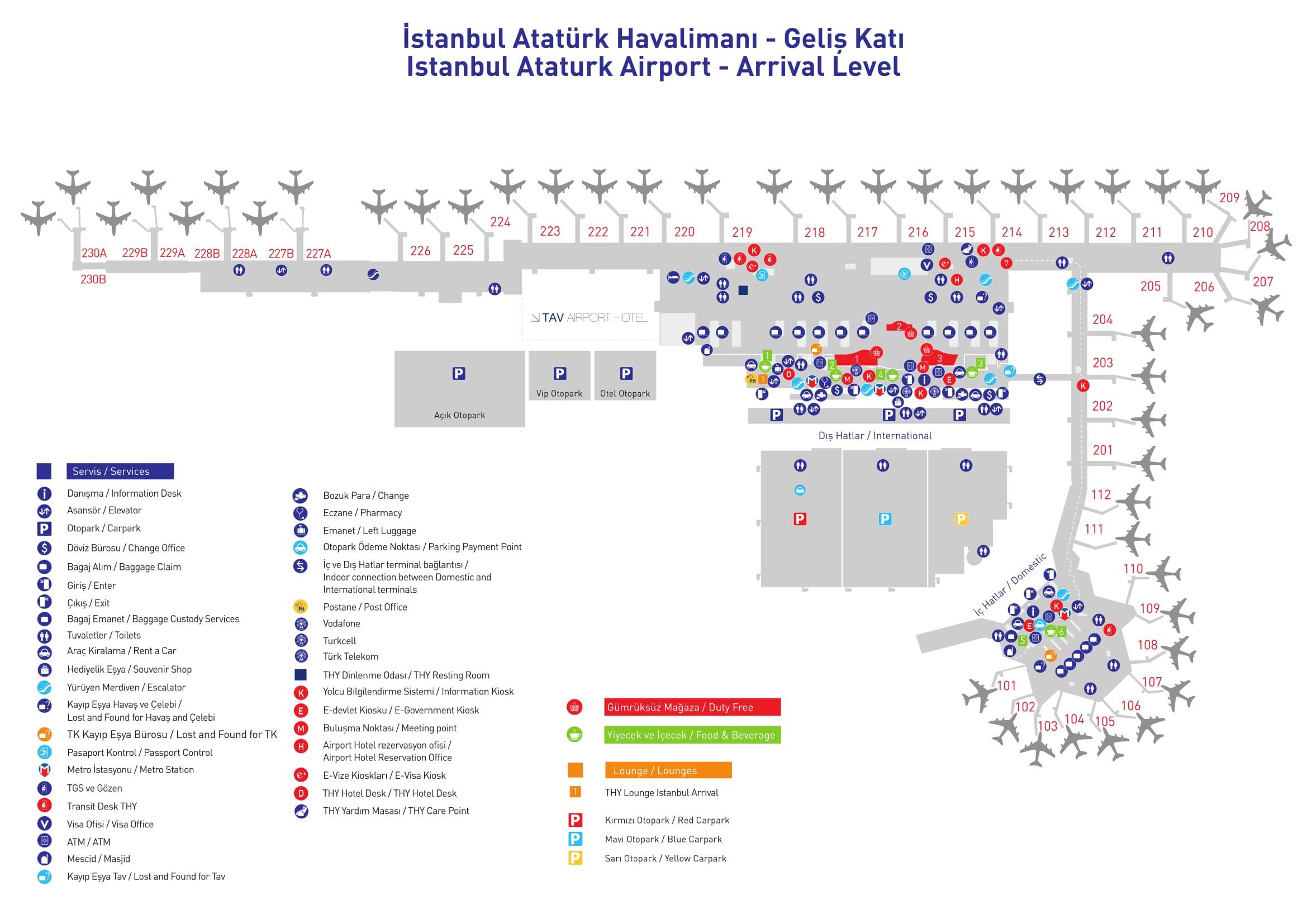 Mapa de la terminal de Arribos del aeropuerto de Estambul Ataturk