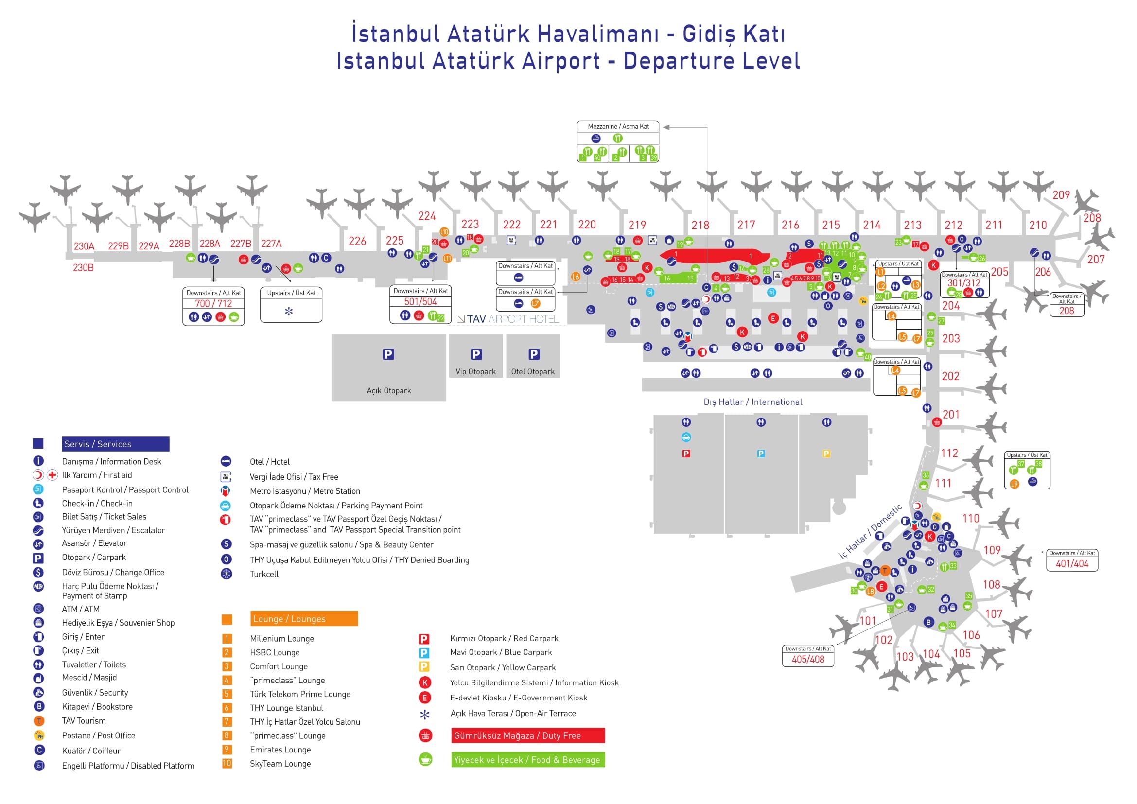 Mapa de la terminal Partidas del aeropuerto de Estambul Ataturk